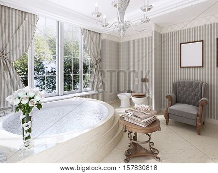 Large Round Bath In The Bathroom In A Classic Style.