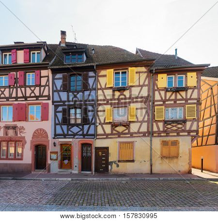 half timbered houses of Colmar, beautiful town of Alsace, France