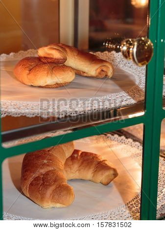 Fresh Croissants For Continental Breakfast Inside Display Cabinet