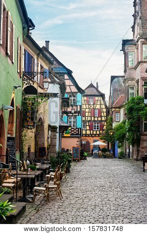 street in old town of Riquewihr, beautiful town of Alsace, France