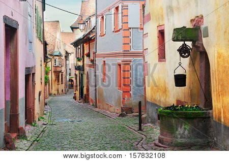 street of Riquewihr, beautiful town of Alsace, France