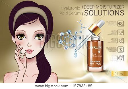 Hyaluronic Acid Moisturizing Serum ads. Vector Illustration with Manga style girl and Collagen Serum container.