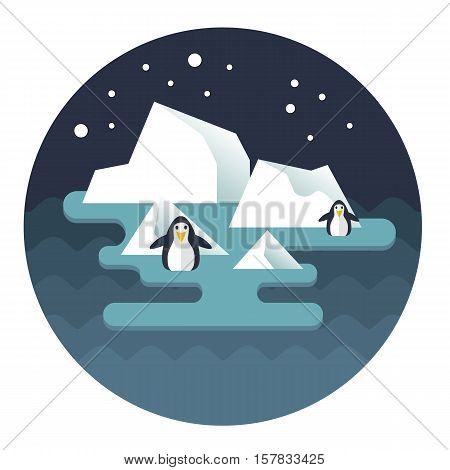 Stock Vector North Pole and penguins on the ice