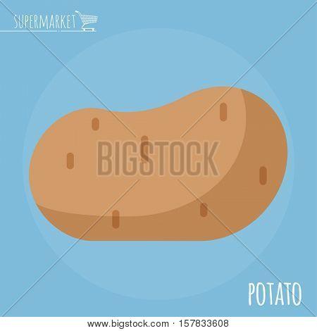 Potato.  Long shadow flat design vector icon.