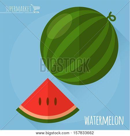 Watermelon.  Long shadow flat design vector icon.