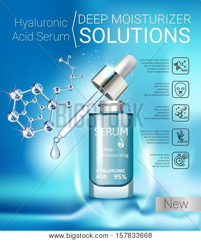 Hyaluronic Acid Moisturizing Serum ads. Vector Illustration with Collagen Serum container.