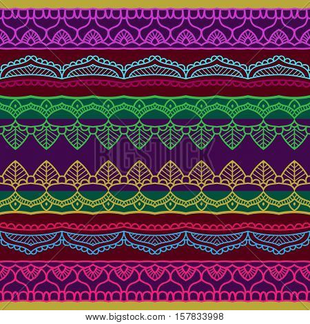 Beautiful ornate black mehndy border background. Orient motif. Striped colorful background