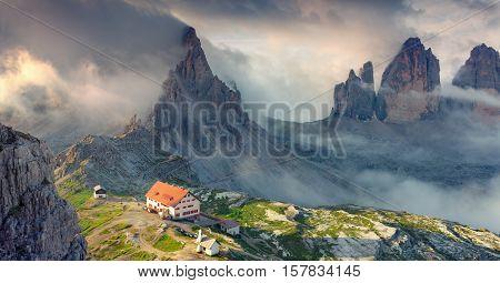 Panorama of the rifugio Lacatelli in National Park Tre Cime di Lavaredo. Dolomites South Tyrol. Location Auronzo Italy Europe.