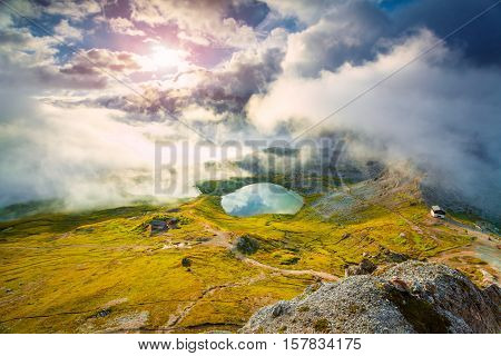 Colorful Summer Sunrise On The Lakes Del Piani