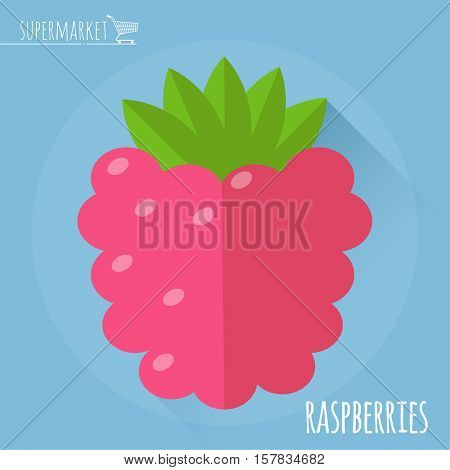 Raspberry.  Long shadow flat design vector icon.