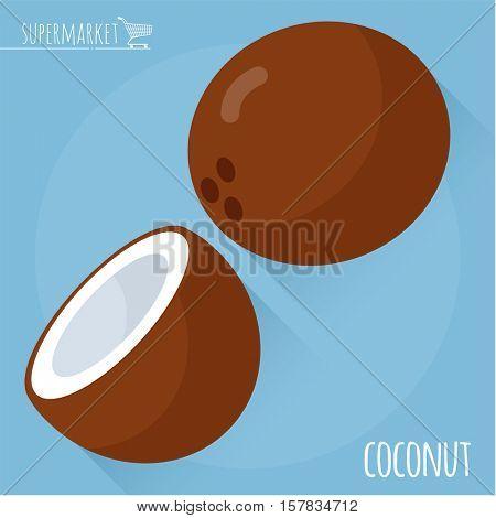 Coconut.  Long shadow flat design vector icon.