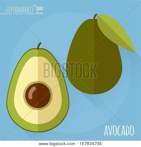 Avocado.  Long shadow flat design vector icon.