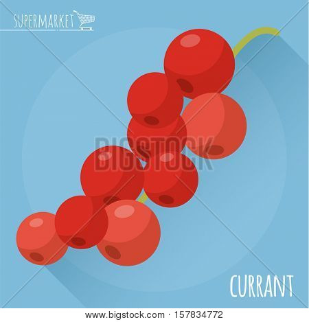 Red currant.  Long shadow flat design vector icon.