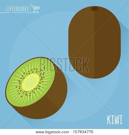 Kiwi.  Long shadow flat design vector icon.