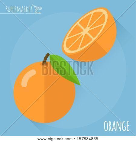 Orange.  Long shadow flat design vector icon.
