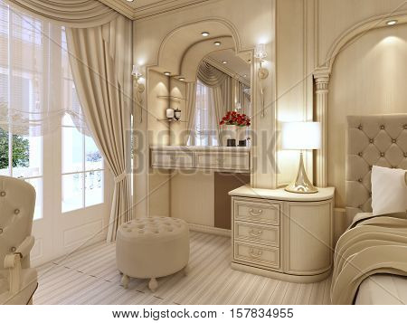 Dressing Table And Two Chairs With A Table Lamp In Classic Luxury Bedroom.