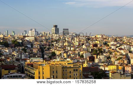 ISTANBUL, TURKEY - 4 JUNE 2016: Sunset panorama of the city of Istanbul from Galata Tower: JUNE 6, 2016 in Istanbul, Turkey