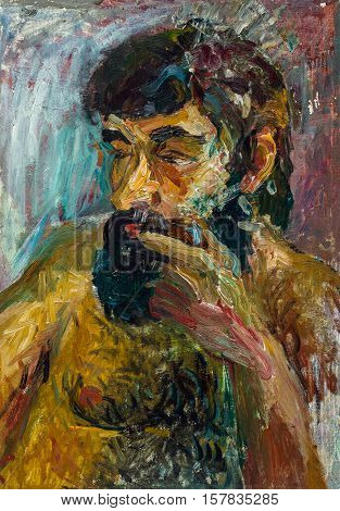 Beautiful Original Oil Painting Of Topless Bearded