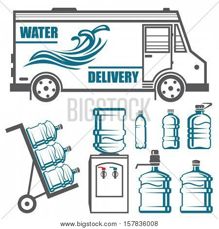 Set of icons and elements for water delivery business. Bottles, coolers, truck, cart. Vector illustration.