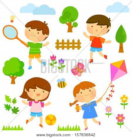 set of cute kids playing outdoors and elements of nature
