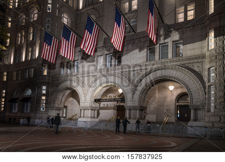 WASHINGTON DC USA - NOVEMBER 18: Trump International Hotel in Washington DC on November 18 2016. The hotel officially opened on October 26 2016.