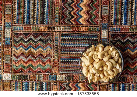 cashew nuts on a traditional Arabian carpet