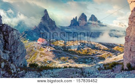 Panorama Of The Rifugio Lacatelli In National Park Tre Cime Di Lavaredo.
