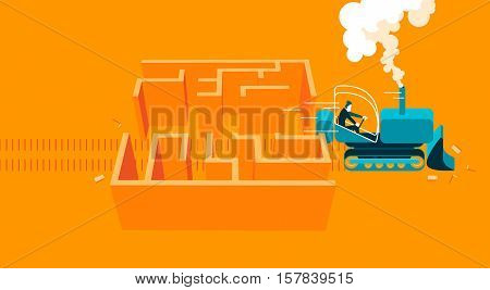 bulldoozer throughout labyrinth. Business concept. vector illustration