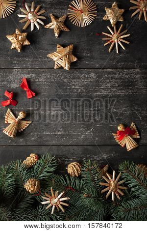 Christmas border design on the wooden background top view