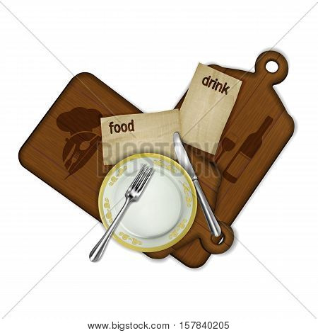 Template for restaurant menu, a cutting board with an old sheet of paper is familiar menus and a knife with a fork. Isolated object can be used with any image or text.
