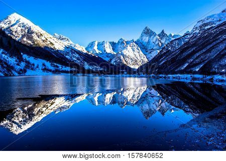 beautiful view of the mountain lake, winter landscape, nature of the North Caucasus
