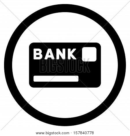 Bank Card vector rounded icon. Image style is a flat icon symbol inside a circle, black color, white background.
