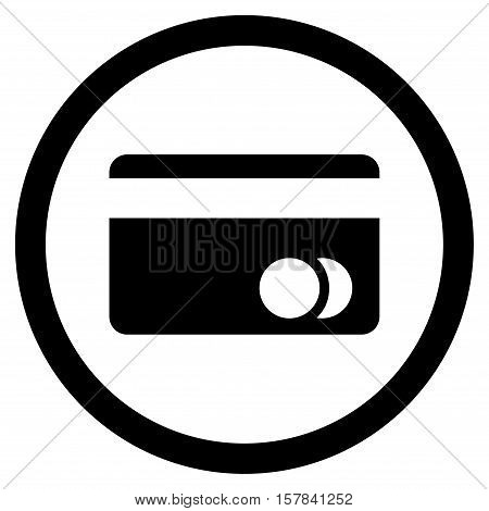 Banking Card vector rounded icon. Image style is a flat icon symbol inside a circle, black color, white background.