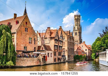 BRUGES BELGIUM - 7 August 2014: Scenery with water canal in Bruges
