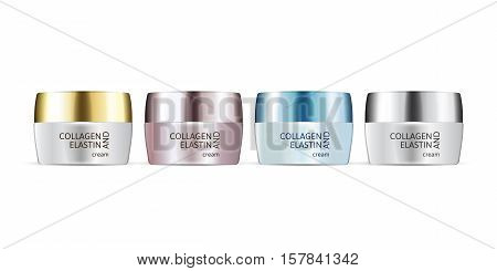 Collagen and Elastin cream in different color of packages. Vector illustration of realistic cream containers isolated on white background.