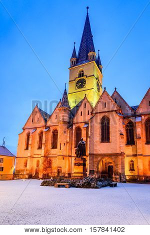Sibiu Romania. Evangelical Cathedral in the center of Sibiu European Capital of Culture for the year 2007 Transylvania.