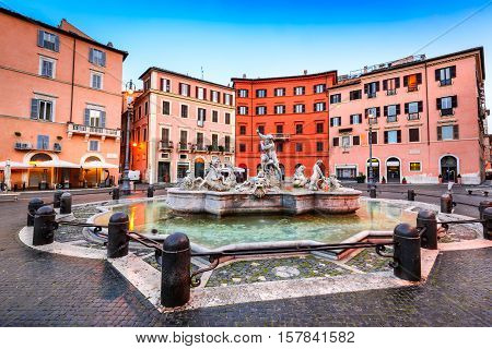 Rome Italy. The Fountain of Neptune at Piazza Navona. This fountain from 1576 depicts the god Neptune with his trident fight against an octopus and other mythological creatures