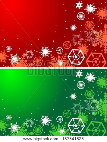 Winter red and green backgrounds. Christmas background with snowflakes.
