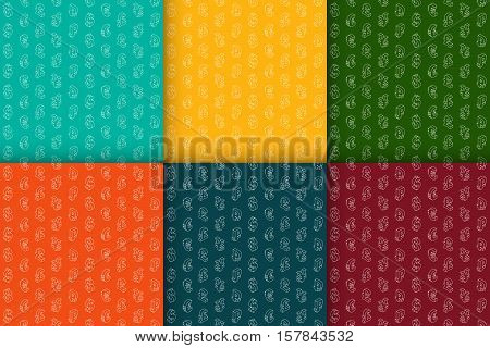Set of seamless retro patterns with isometric line icons currency symbols. Vector illustration.
