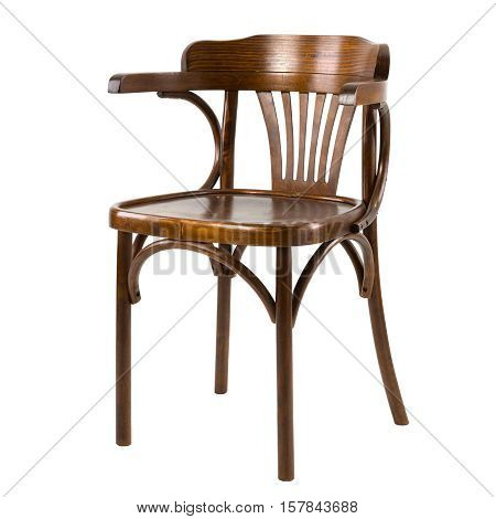 Wooden comfortable chair isolated on white background.