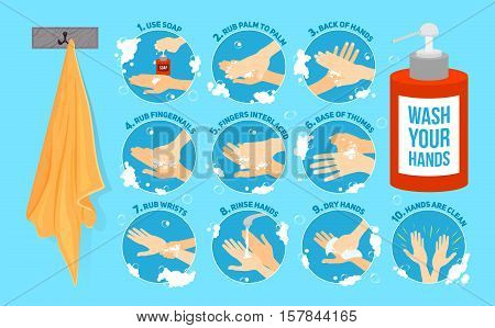Ten steps of how to wash your hands. vector infographic vector illustration. Hands washing medical instructions. Soap bottle and towel. Flat vector icons.