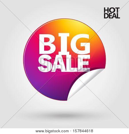 Hot Deal sticker icon design template. Vector illustration. Big Sale banner. For Black Friday Sale.