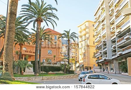 MONACO - FEBRUARY 21 2012: The twisted Bouleward of Jardin Exotique located on the hills of La Condamine ward and boasts scenic mansions and shady parks on February 21 in Monaco.