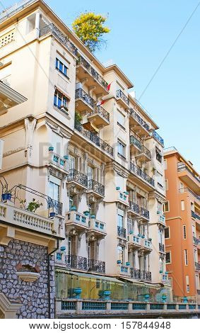 The residential building in La Condamine ward decorated with blue vases Monaco.
