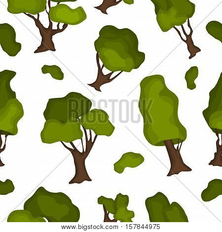 Tropical seamless pattern with exotic green leaves. Vector illustration trees pattern summer exotic nature foliage. Natural art floral graphic trees pattern green forest.
