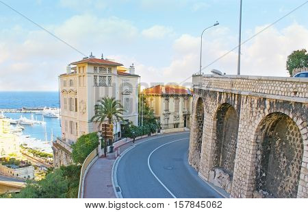 The winding Boulevard of Rainier III in La Condamine ward opens the view on the coastline with Port Hercules full of yachts and boats Monaco.