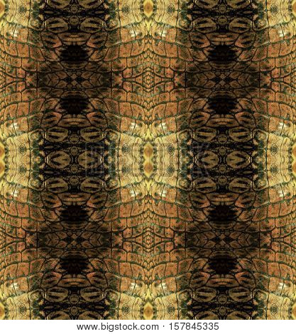 Abstract seamless pattern with brown stripes resembling snake skin