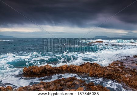 Stormy Weather On The Volcanic Beach On Nature Reserve Piscina Di Venere