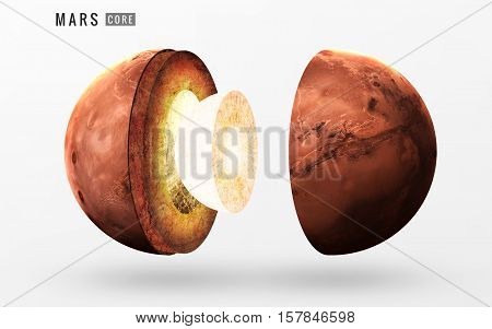 Mars inner structure. Elements of this image furnished by NASA