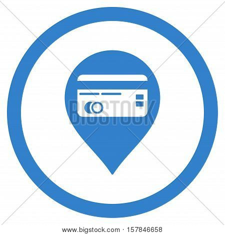 Credit Card Pointer vector rounded icon. Image style is a flat icon symbol inside a circle, cobalt color, white background.
